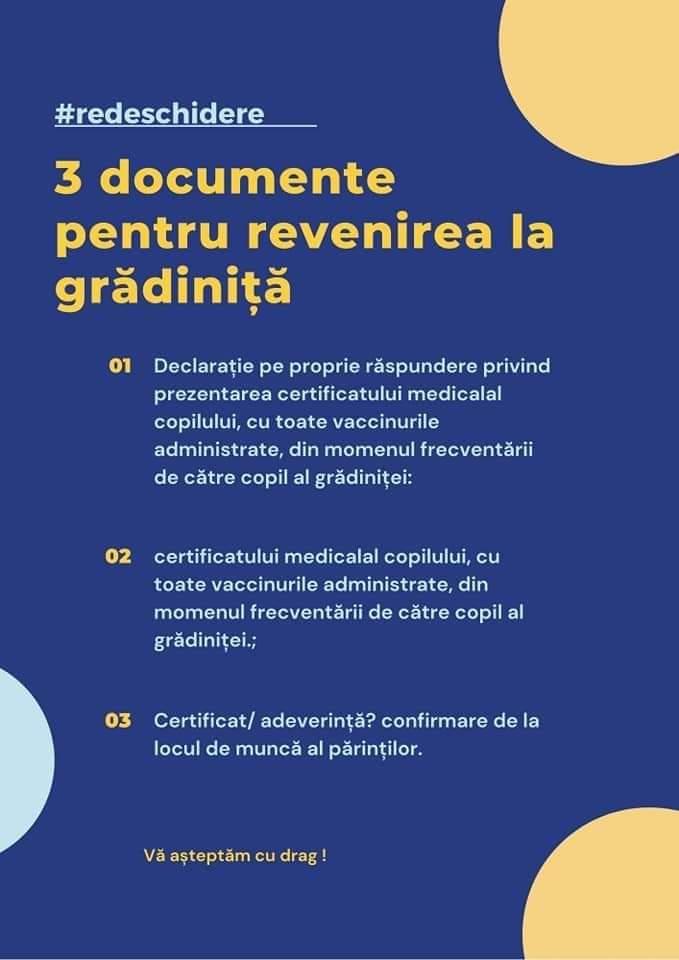 3 documente pentru revenirea la grădiniță
